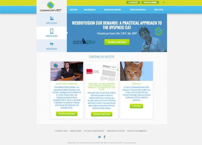 CommuniVET.com – Une communauté virtuelle canadienne destinée aux professionnels vétérinaires, publiant des formations continues, les nouvelles de l'industrie et les dernières avancées en santé animale.